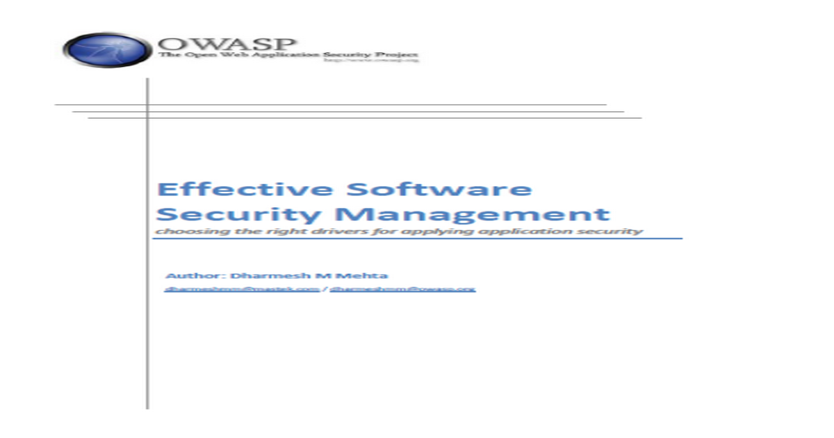 Effective Software Security Management