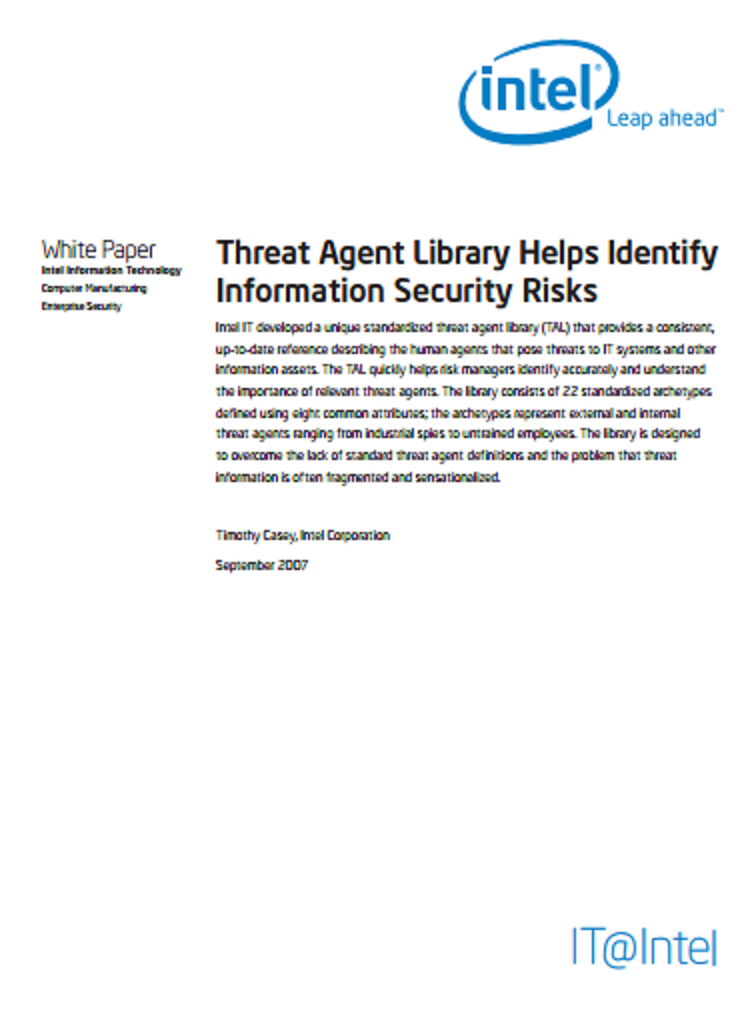 THREAT AGENT LIBRARY HELPS IDENTIFY INFORMATION SECURITY RISKS