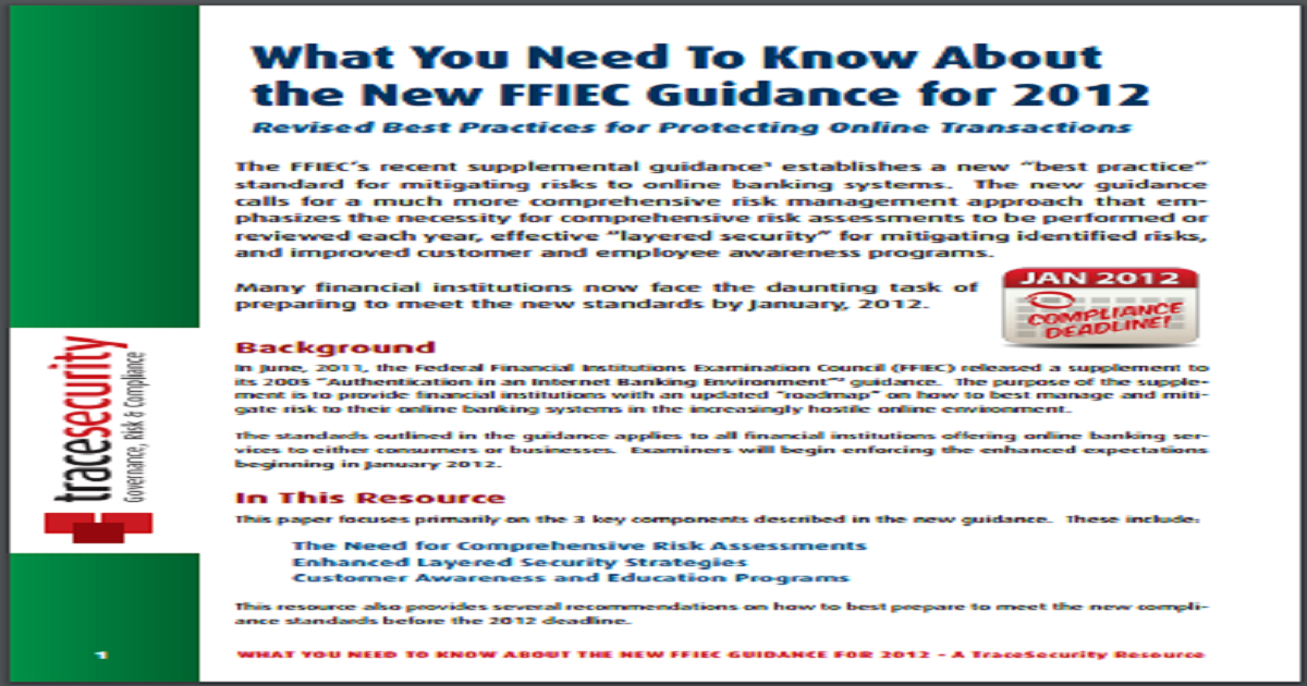 FFIEC GUIDANCE - BEST PRACTICES FOR PROTECTING ONLINE TRANSACTIONS