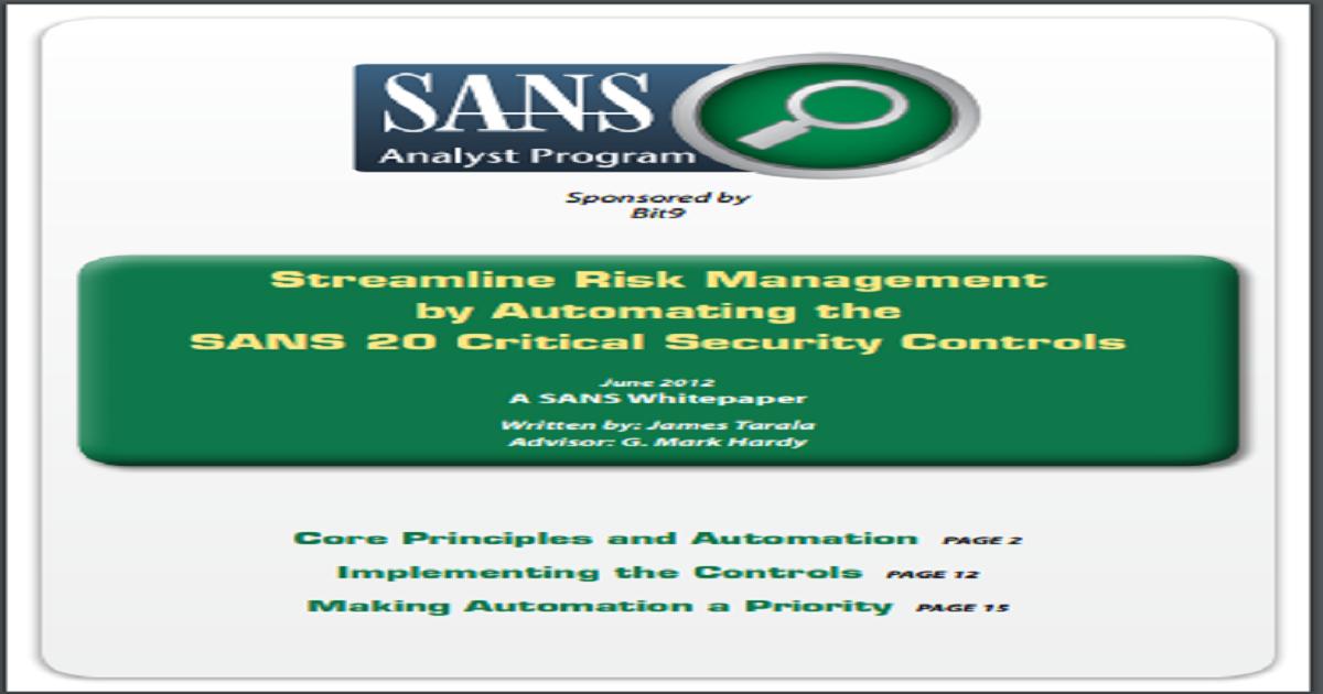 STREAMLINE RISK MANAGEMENT SANS WHITEPAPER