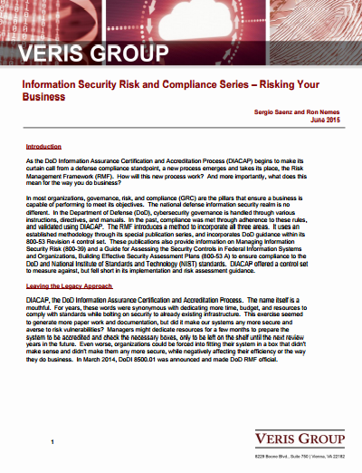 INFORMATION SECURITY RISK AND COMPLIANCE SERIES – RISKING YOUR BUSINESS