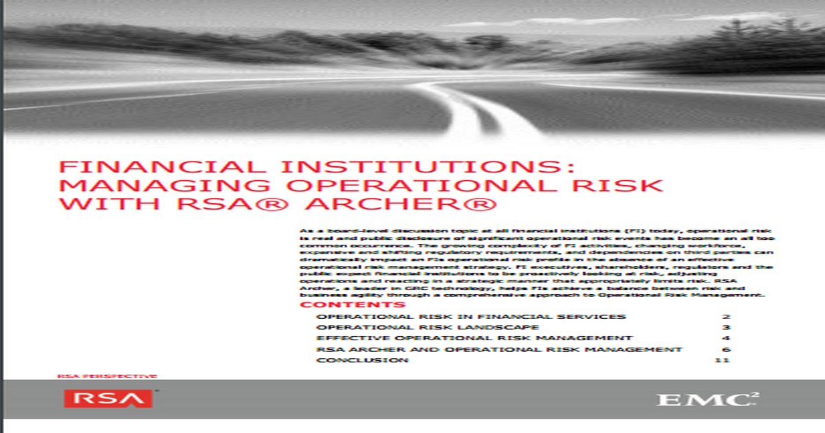EFFECTIVE OPERATIONAL RISK MANAGEMENT FOR FINANCIAL INSTITUTIONS