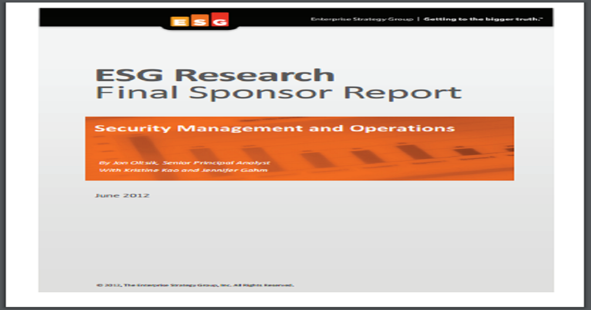SECURITY MANAGEMENT AND OPERATIONS REPORT