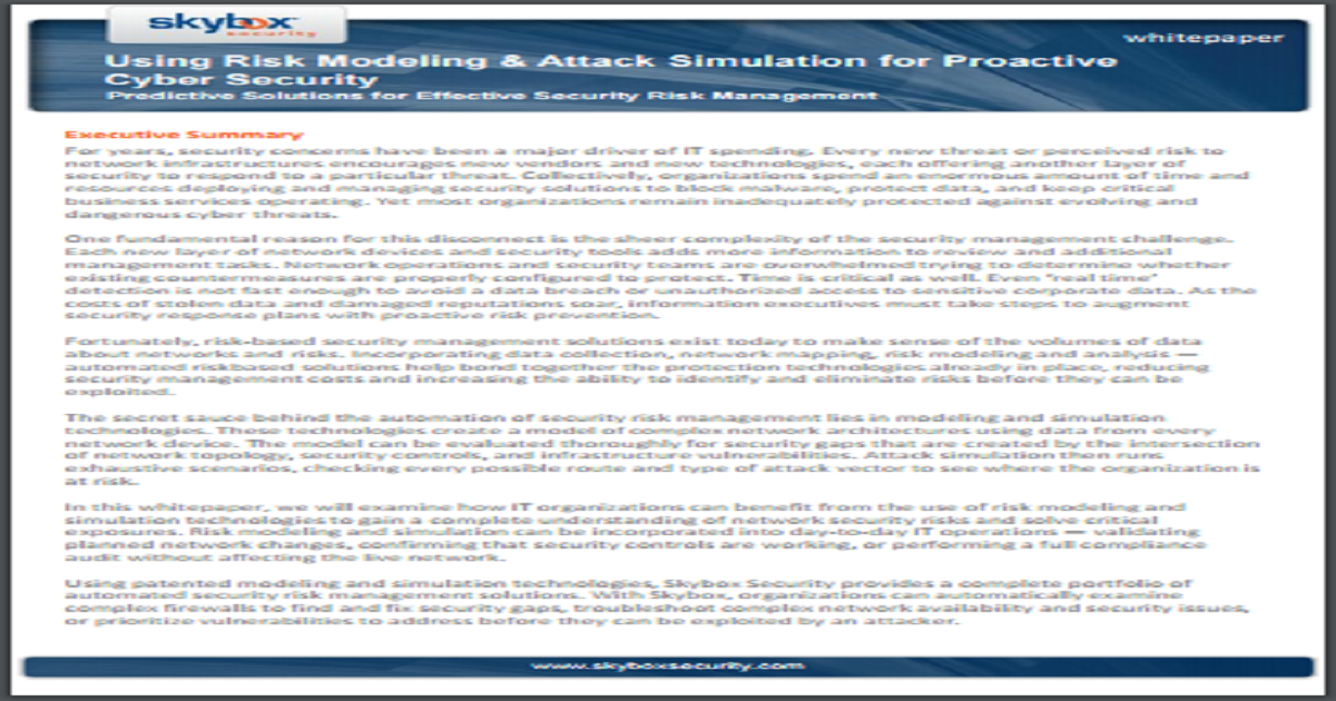 RISK MODELING & ATTACK SIMULATION FOR PROACTIVE CYBER SECURITY