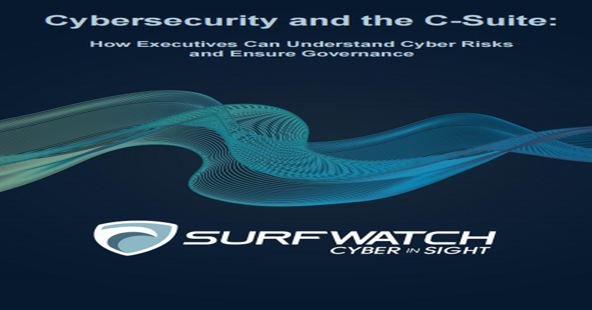CYBERSECURITY AND THE C-SUITE HOW EXECUTIVES CAN UNDERSTAND CYBER RISKS AND ENSURE GOVERNANCE